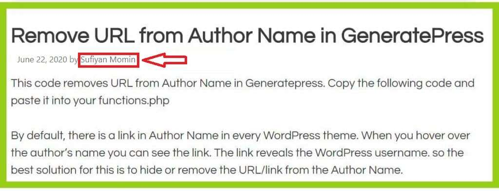 remove URL from Author Name in GeneratePress Theme